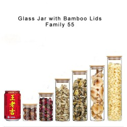 Dia 55mm H 60mm H 80mm H 100mm H 150mm Glass Food Storage Containers Set,Airtight Food Jars with Bamboo Wooden Lids -  Kitchen Canisters For Sugar,Candy, Cookie, Rice and Spice Jars