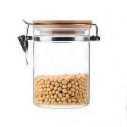 1140ml Glass Storage Jars with Airtight Locking Clamp Lids, Airtight Glass Canisters with Locking Lids, Glass Storage Containers with Bamboo Lid, Food Storage Containers, Glass Canister Sets