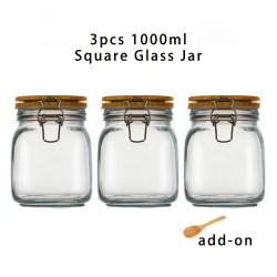 3pcs 1000ml Wide Mouth Square Glass Jar - Airtight Storage Jar with wood Bamboo Lid Medium Jar Perfect for Beans, Jelly, Storing and Canning Use