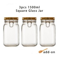 3pcs 1500ml Wide Mouth Square Glass Jar - Airtight Storage Jar with wood Bamboo Lid Medium Jar Perfect for Beans, Jelly, Storing and Canning Use