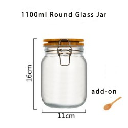 1100ml Wide Mouth Round Glass Jar - Airtight Storage Jar with wood Bamboo Lid Medium Jar Perfect for Beans, Jelly, Storing and Canning Use