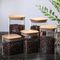 1200ml Glass Storage Jar with Airtight Lid, Square Glass Tea Tin, Transparent Glass Canister for Ground Coffee, Tea Bag, Rice, Flour, Dog Cookies and More