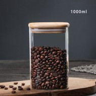 1000ml Glass Storage Jar with Airtight Lid, Square Glass Tea Tin, Transparent Glass Canister for Ground Coffee, Tea Bag, Rice, Flour, Dog Cookies and More