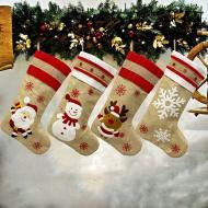 2020 New Christmas Decorations Christmas Socks Gift Bag Old Man Snowman Deer Snowflake Linen Christmas Socks