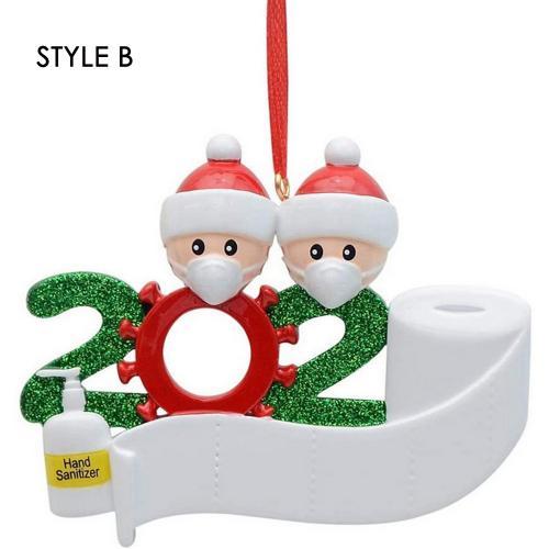 2020 New DIY Name Blessings Resin Face Mask Snowman Wearing Mask Family Christmas Gift Gift