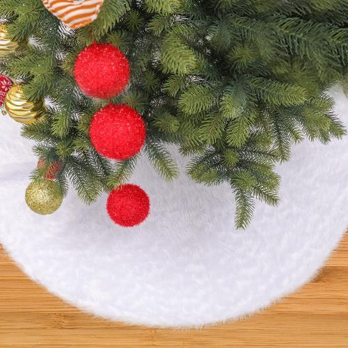 Christmas plush tree skirt Pure white long hair Christmas tree skirt 78 90 122, 152cm Christmas tree decoration tree skirt