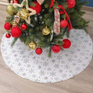 High-end white tree skirt 90 122cm high-end plush beads embroidered Christmas tree group Christmas tree decorations