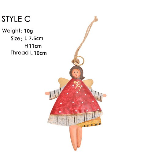 Christmas decoration creative wrought iron handmade painted angel girl pendant Christmas tree pendant accessories supplies