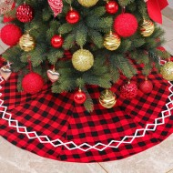 Red checkered tree skirt Christmas ornaments holiday scene with Christmas tree bottom decoration tree apron