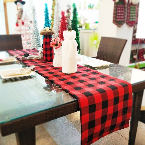 Double New Christmas Decorations Plaid Cloth Table Banner Holiday Home Decoration Red and Black Tablecloth Tablecloth Mat