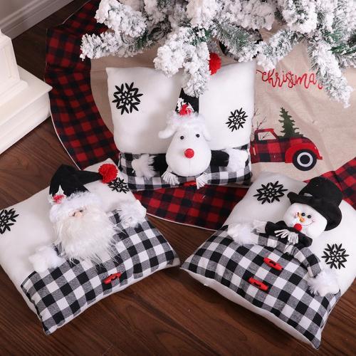 Christmas Pillow Black and White Santa Snowman Pillow Creative Cartoon Christmas Pillow Home Decor
