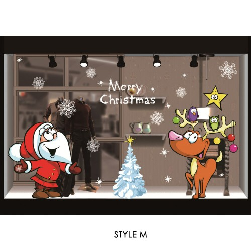 Christmas non-adhesive electrostatic stickers shopping mall window decoration party hotel Christmas atmosphere decoration supplies manufacturers wholesale
