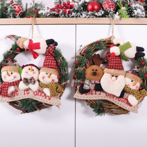 Christmas decorations, Christmas decorations, wreaths, dolls, vine rings, Christmas tree pendants, window dressing props, wreaths
