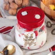 Tvoip Modern Fermenting Seal Storage Jar Transparent Glass Jars with Lid Kit/Honey Jam Fruit Cans Pickle Side Dish Tanks Tea Bottle Accessories (35OZ(1000ML))