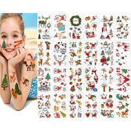 Christmas Temporary Tattoos Stickers,Christmas Decorations with Santa Claus Christmas Tree Socks Reindeer Gift Bags for Kids Christmas Party,Fun Christmas Holiday Tattoo for Kids (30 sheets)