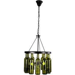 HLL Pendant Lights,Modern Glass Wine Bottle Chandelier, Simple Personality 4-Light Pendant Lighting Metal Indoor Semi-Embedded Ceiling Light Bar Cafe Restaurant Bar Table Lighting, Black