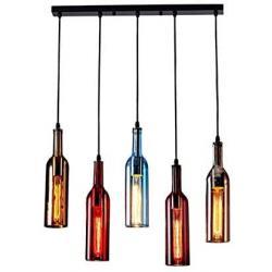 HLIGHT Wine Bottle Glass Modern Pendant Lamps, Chandelier for Kitchen Art Home Deco Dining Table, Champagne Bar Counter Decor Light
